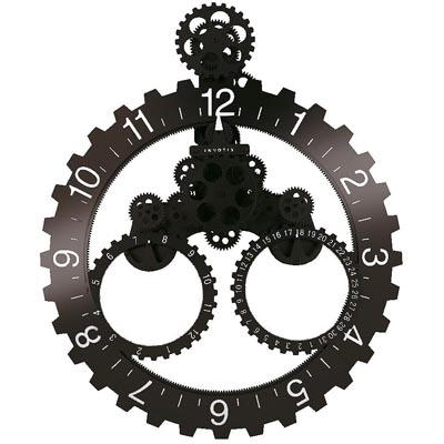 Invotis Wall Gear and DATE Clock BLACK/WHITE No.s
